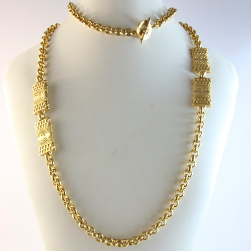 'Omnia Vincit Amore' French Vintage Gold Chain Necklace