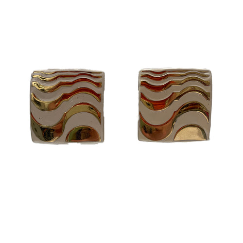 Vintage Givenchy Cream and Gold Tone Swirl Squared Earrings (clip-on)