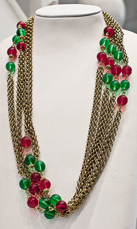 French vintage multi strand glass bead chain necklace c. 1950