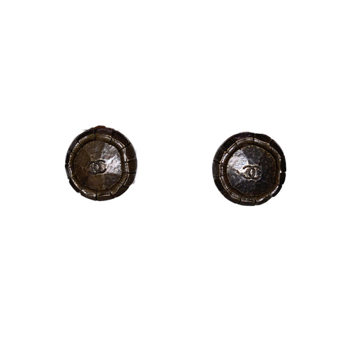 Vintage Chanel Bronze Toned Textured Earrings(clip-on)