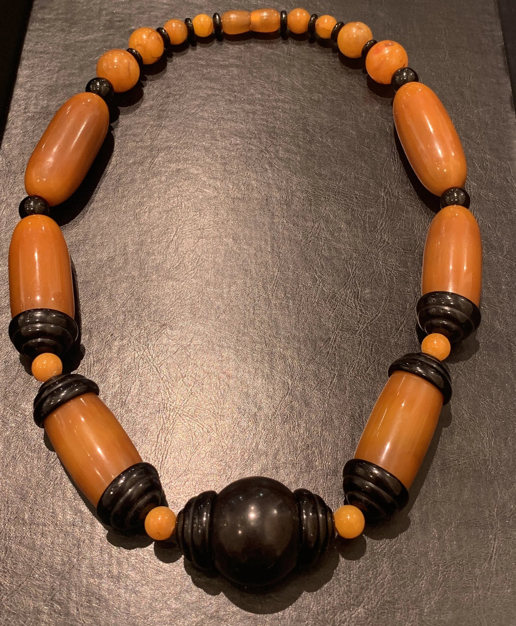 French Art Deco Chunky Galalith Bead Necklace