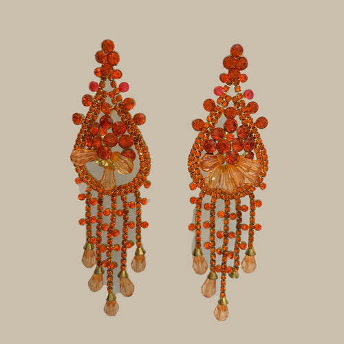 Floral Chandelier Tassel Earrings - Orange