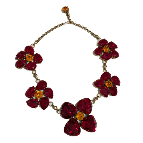 Harlequin Market Statement Crystal Accent Necklace -Ruby & Topaz