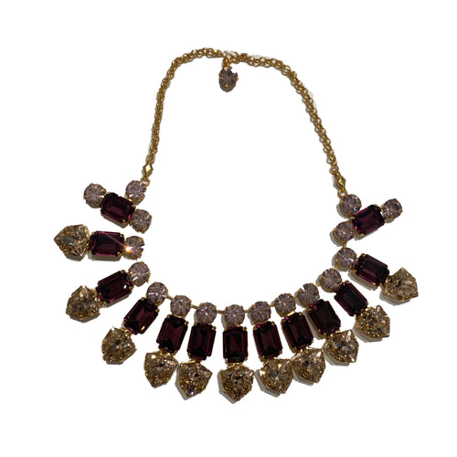 Harlequin Market Triple Crystal Accent Necklace -Clear, Amethyst & Light Rose