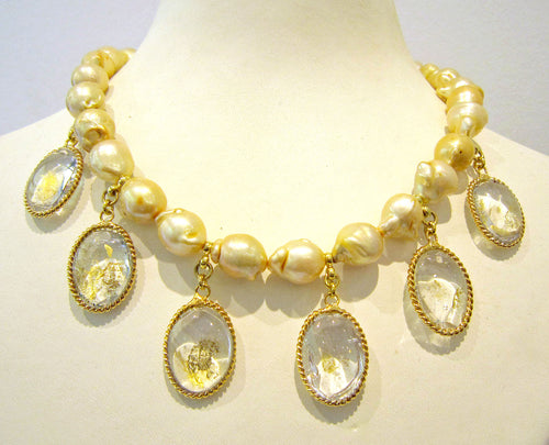 Pate-de-Verre & Gold Pearl Necklace