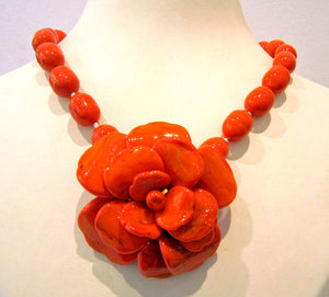 Pate-de-verre (Hand-poured-glass( coral camelia necklace