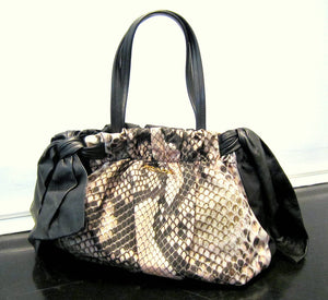 Snakeskin Print-Leather Prada Handbag