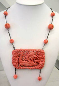 Art Deco carved coral Galalith necklace detailed and stunning c.1930's