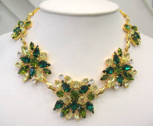 Harlequin Market Green Hued Crystal Necklace