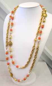 Signed Chanel Coral and Pearl Sautoir