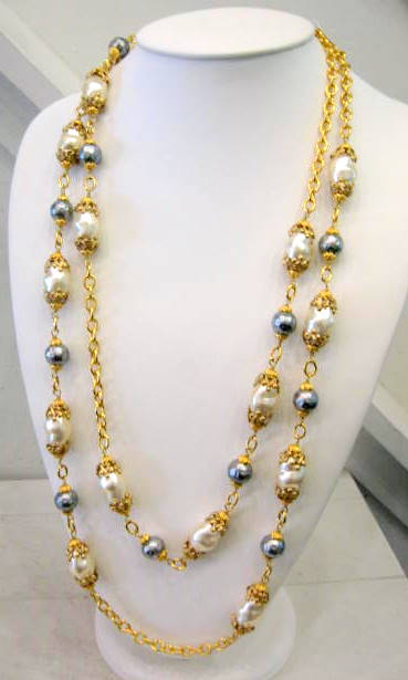 Signed Chanel Grey and White Baroque Pearl Sautoir