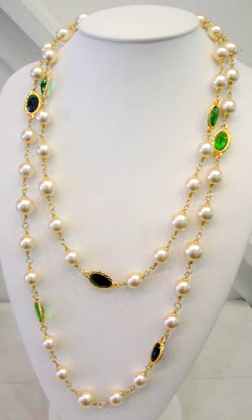 French Pearl and Faceted Crystal Sautoir