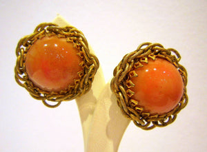 Miriam Haskell Peach Clip-ons