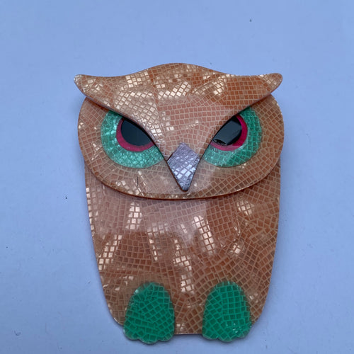 Lea Stein Signed Buba Owl Brooch Pin - Pastel Orange & Green