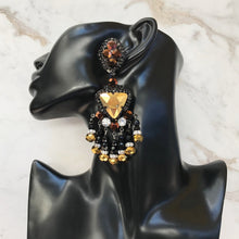 Load image into Gallery viewer, Lawrence VRBA Signed Large Statement Crystal Earrings - Black, Gold (clip-on)