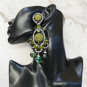 Lawrence VRBA Signed Large Statement Crystal Earrings -Olivine Green (clip-on)