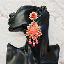 Load image into Gallery viewer, Lawrence VRBA Signed Large Statement Crystal Earrings - Coral & Gold (clip-on)