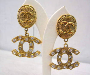 Signed Chanel Gold Logo Drop Earrings