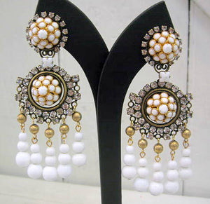 Harlequin Market White and Bronze Embellished Drop Earrings
