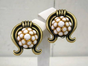 Harlequin Market White and Bronze Embellished Earrings