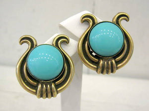 Harlequin Market Turquoise and Bronze Earrings
