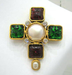 Signed Chanel 'Pate de verre' Cross Brooch