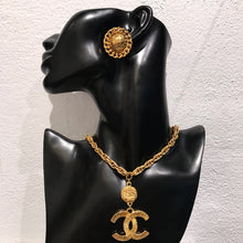 Load image into Gallery viewer, Chanel Vintage Signed CC Quilted Round Gold Earrings c. 1990s (Clip-on)