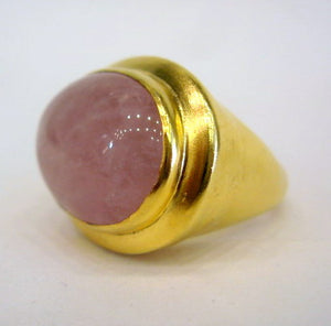 Gold Plated Rose Quartz Ring
