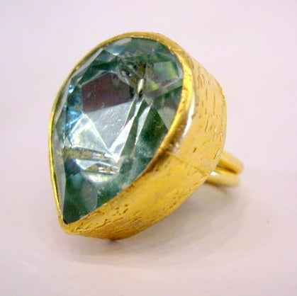 Gold Plated Turkish Aquamarine Ring