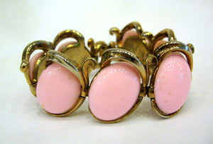 Vintage Gold Plated and Pink Glass Bracelet