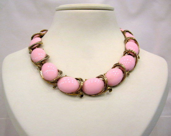 Vintage Gold Plated and Pink Glass Necklace
