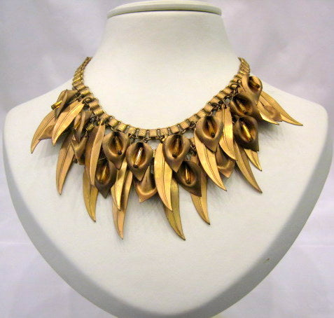 Vintage Gold Leaf Necklace