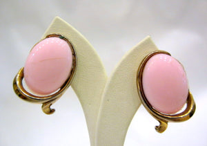 Vintage Gold Plated and Pink Glass Earrings