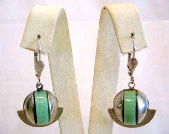 Art Deco Galalith & Chrome Earrings