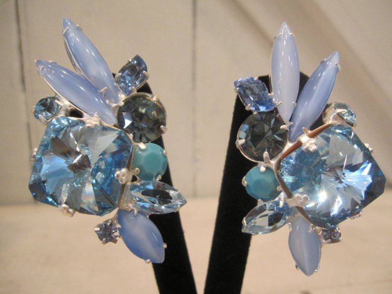 Harlequin Market Blue Crystal Earrings