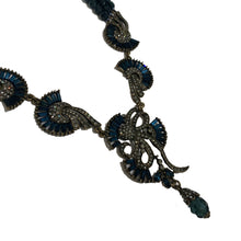 Load image into Gallery viewer, French Vintage Unsigned Blue & Clear Crystal Antique Plated Art Deco Necklace