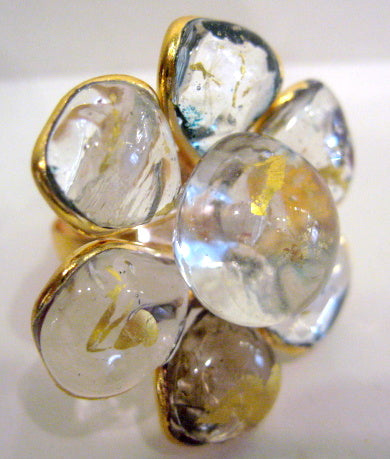 Pate-de-Verre 24k Gold Leaf Ring