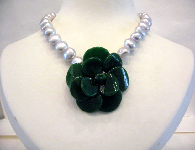 Pate-de-Verre Green Camelia & Freshwater Pearl Necklace