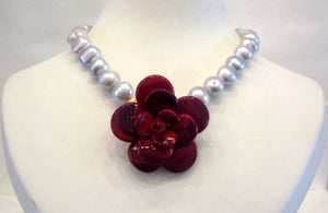 Pate-de-Verre Red Camelia & Freshwater Pearl Necklace