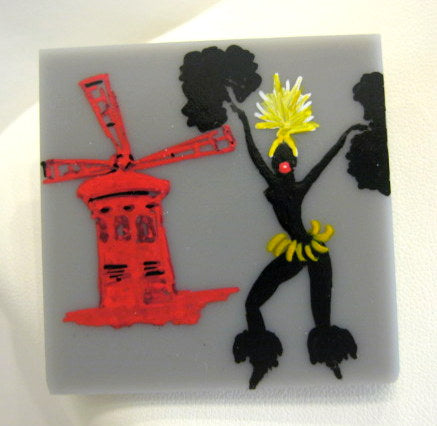 Hand Painted 'Moulin Rouge' Plastic Brooch