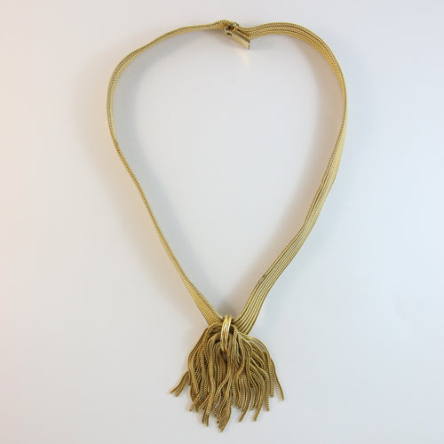 French Vintage Gold-Tone Tassel Pendant Necklace