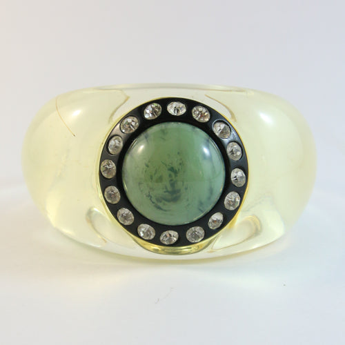 Signed Christian Lacroix Vintage Lucite Cuff Bangle With Crystal Rhinestones & Green Cabochon Stone
