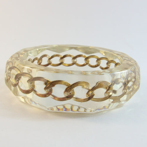 Vintage 1950s Faceted Lucite Bangle With Gold-Plated Chain