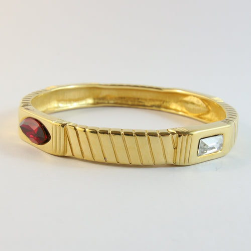Vintage Signed French Monet Bangle With Clear & Red Crystals