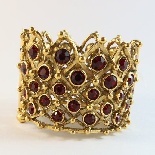 French Vintage Gold-Plated Crown Design Cuff Bangle With Red Crystals