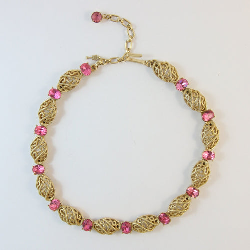 Vintage Trifari Gold Plated & Pink Crystal Necklace