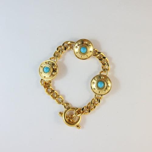 Gold-Plated Bracelet With Turquoise Stones