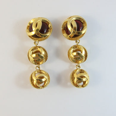 Vintage Signed Chanel Red Gripoix Logo Drop Earrings (Clip-On)