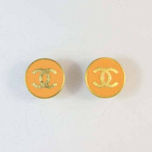 Vintage Signed Chanel Salmon Enamel Logo Earrings