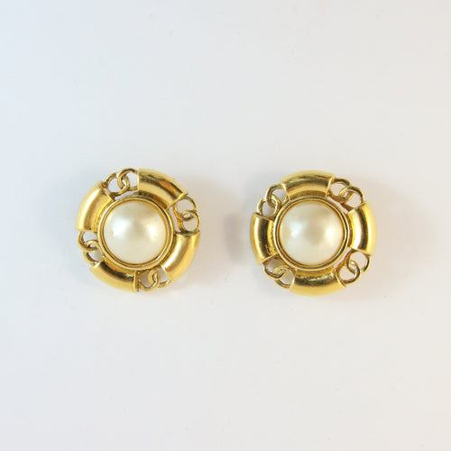 Vintage Signed Chanel Faux Pearl Earrings c.1993